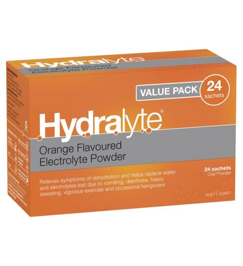Hydralyte Orange Flavoured Electrolyte Powder 24 Sachets Oral Powder