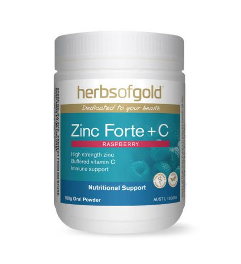 Herbs Of Gold Zinc Forte + C Raspberry Oral Powder 100g