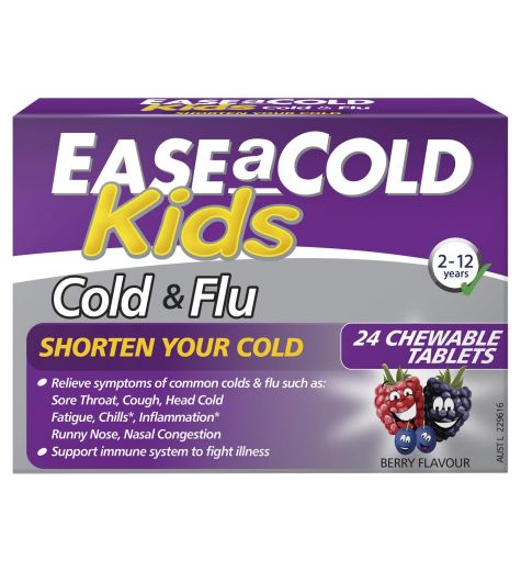 Ease a Cold Kids Cold & Flu 2-12 Years 24 Chewable Berry Tablets