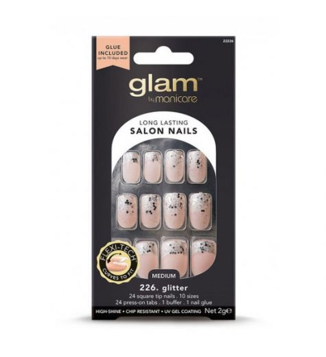 Glam By Manicare 226. Glitter Medium Glue On Nails