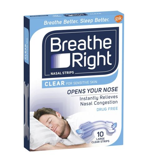 Breathe Right Clear Large Nasal Strips 10s