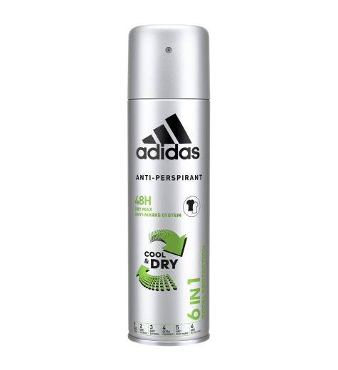 Adidas Anti-Perspirant 6 In 1 Cool & Dry 48h Deodorant 200ml