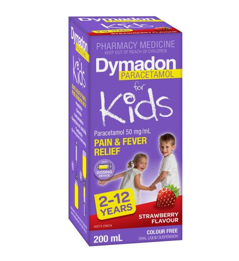 Dymadon Pain & Fever Relief For Kids 2-12 Years Strawberry 200ml