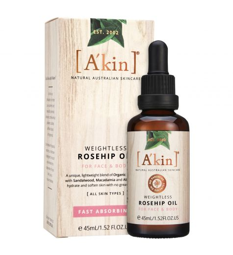 A'kin Weightless Rosehip Oil For Face & Body Fast Absorbing 45ml