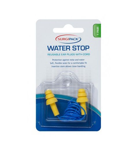 SurgiPack Water Stop Reusable Ear Plugs With Cord