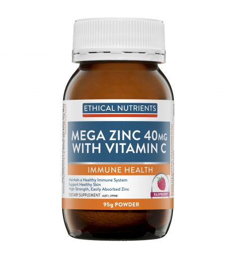 Ethical Nutrients Mega Zinc 40mg Powder With Vitamin C Raspberry Flavour 95g