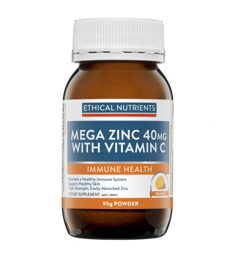 Ethical Nutrients Mega Zinc 40mg Powder With Vitamin C Orange Flavour 95g