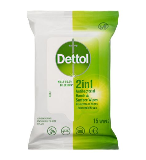 Dettol 2 In 1 Anti-Bacterial 15 x Wipes