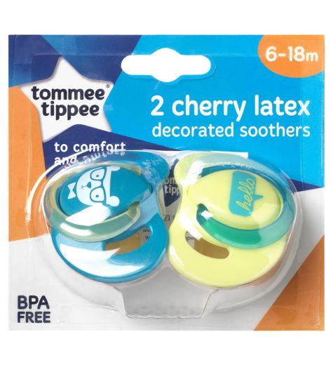 Tommee Tippee Latex Cherry Soothers 6-18 Months 2 Pack