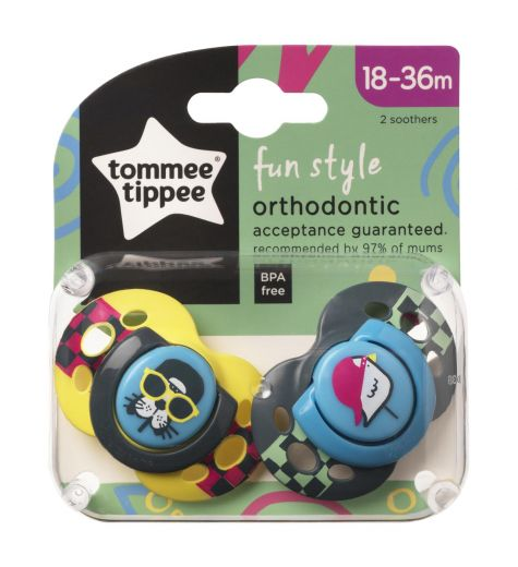 Closer To Nature 2 x Fun Style Orthodontic Soothers 18-36 Months