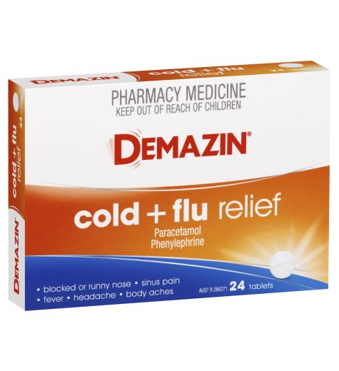Demazin PE Multi-Action Cold & Flu Relief Tablets 24
