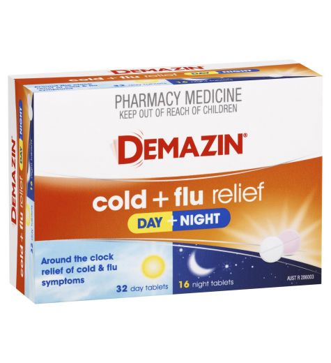 Demazin PE Multi-Action Cold & Flu Relief Day & Night Tablets 48