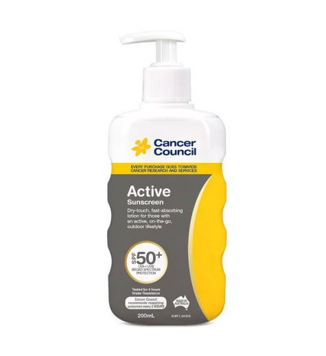 Cancer Council Active Sunscreen Pump SPF 50+ 200ml