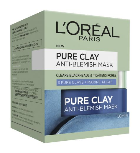 L'Oreal Skin Expert Pure Clay Mask Clears Blackheads & Tightens Pores 50ml