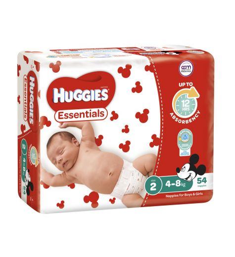 Huggies Essential Size 2 Nappies 4-8kg 54 Pack