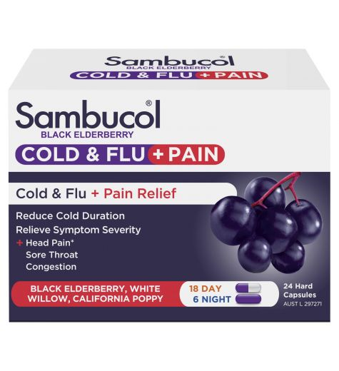 Sambucol Cold & Flu + Pain Relief Day & Night Capsules 24