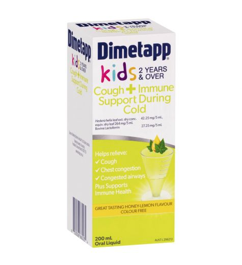 Dimetapp Kids 2 Years + Cough & Immune Support During Cold Liquid 200ml