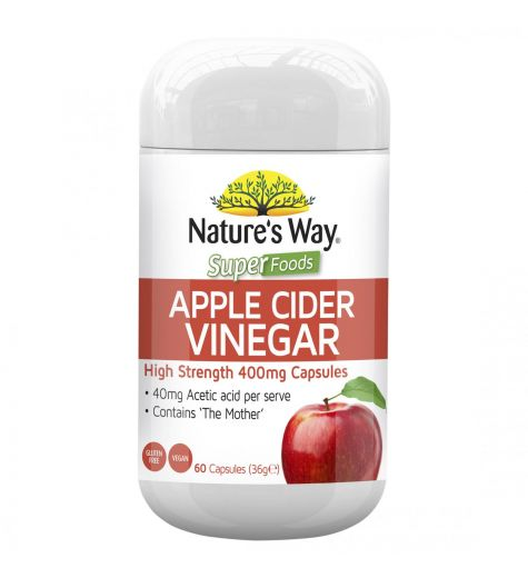 Natures Way Apple Cider Vinegar High Strength 400mg 60 Capsules