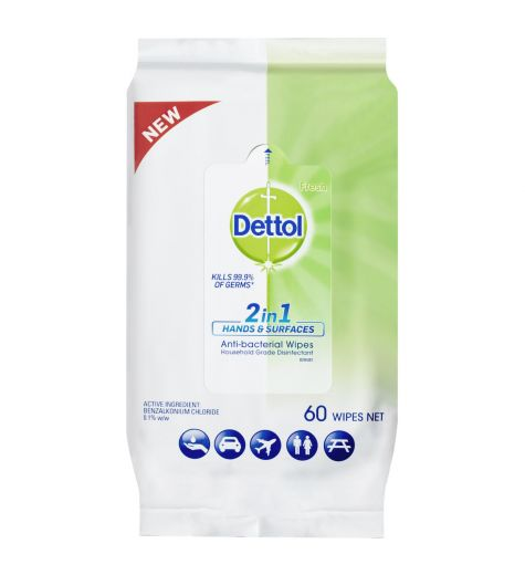 Dettol 2 in 1 Hands & Surfaces Anti-Bacterial Wipes 60 Pack