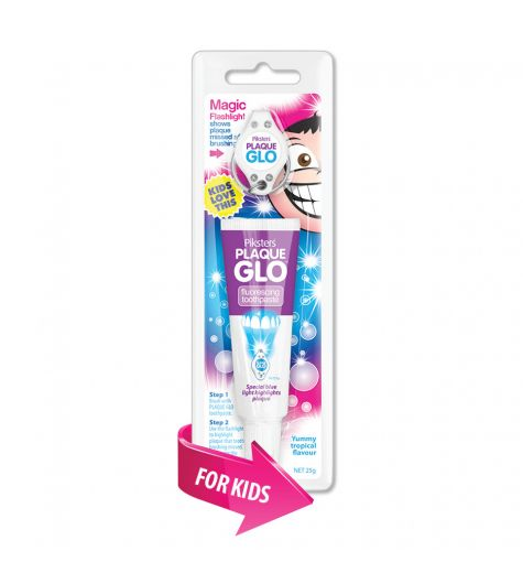 Piksters Plaque Glo Fluroescing Kids Tropical Flavoured Toothpaste 25g