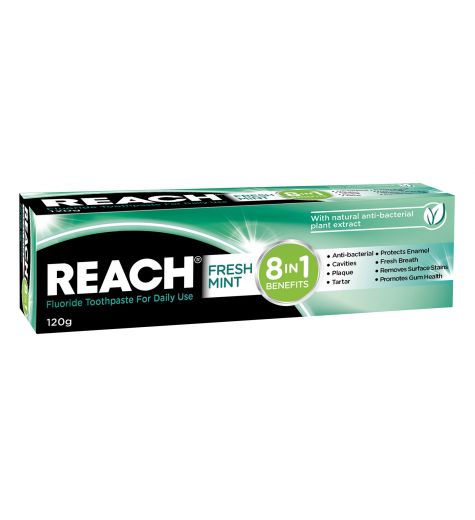 Reach 8 In 1 Fluoride Toothpaste Fresh Mint 120g