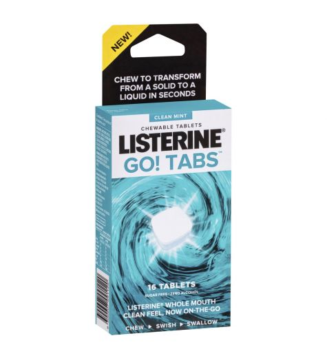 Listerine Go! Clean Mint Chewable Tablets 16