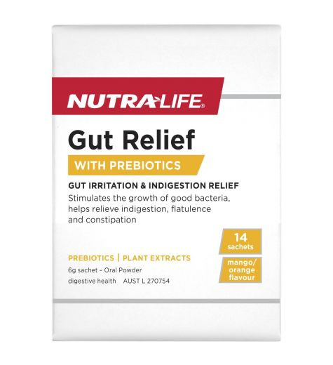 Nutra-Life Gut Relief With Prebiotics Mango/Orange Flavoured Oral Powder 14 Sachets