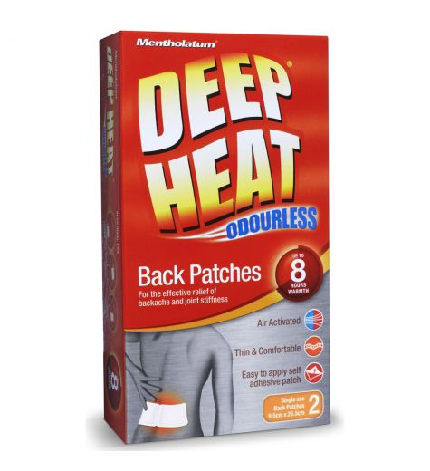 Deep Heat Odourless Single Use  2 Back Patches 8 Hours 9.5cm x 26.6cm