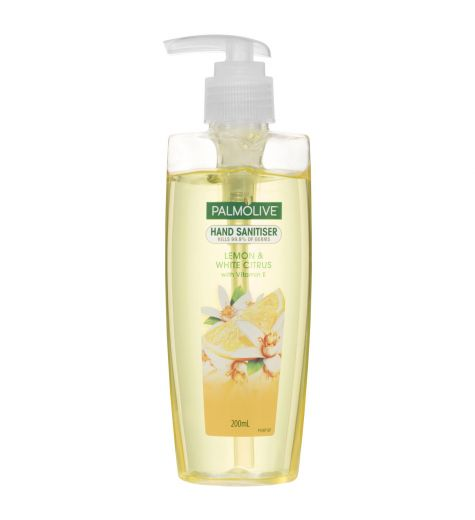 Palmolive Antibacterial Hand Sanitiser Lemon & White Citrus Pump Non-Sticky Rinse Free Kills 99.9% of Germs 200mL