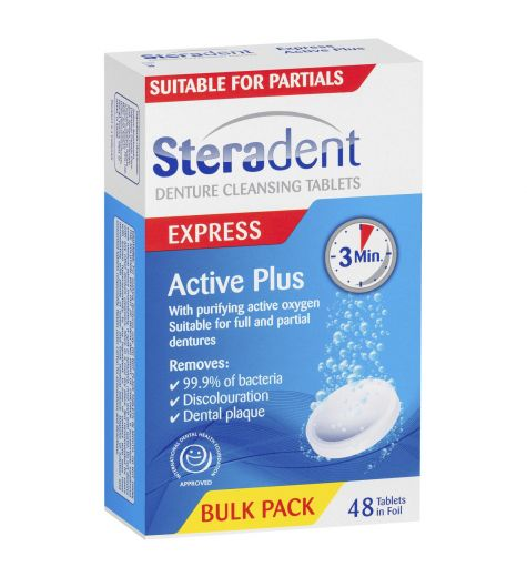 Steradent Express Active Plus Denture Cleansing 48 Tablets