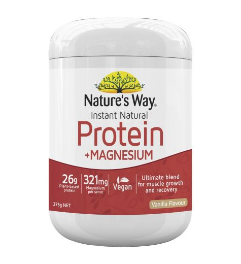 Natures Way Instant Natural Protein + Magnesium Vanilla Flavour 375g