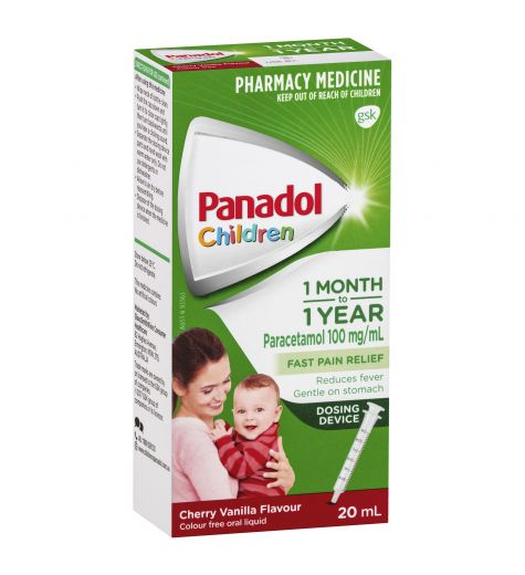 Panadol Children 1 Month - 1 Year Cherry Vanilla Flavour Drops with Dosing Device 20ml