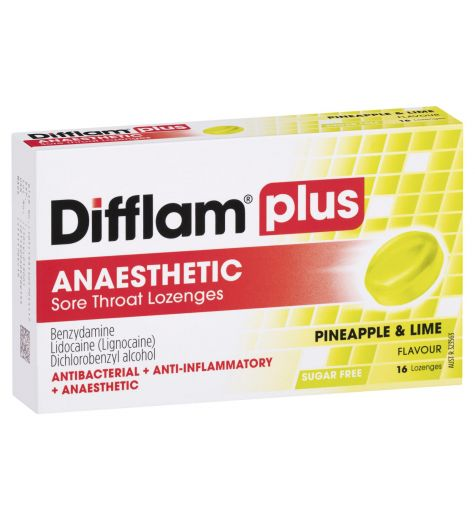 Difflam Plus Sore Throat + Anaesthetic Pineapple & Lime Lozenges 16