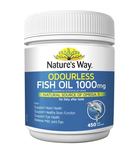 Natures Way Odourless Fish Oil 1000mg 450 Capsules