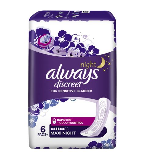 Always Discreet Maxi Night Pads 6 Pack