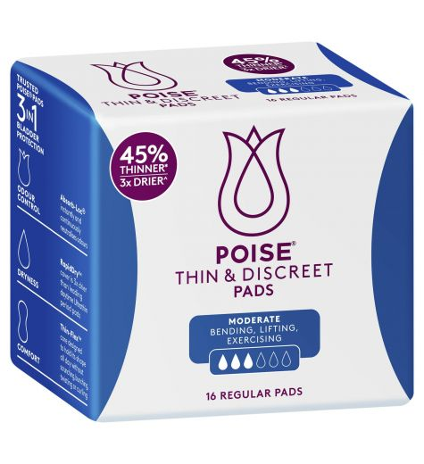 Poise Thin & Discreet Regular Pads 16