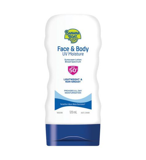 Banana Boat Face & Body UV 50+ SPF Moisture Sunscreen Lotion 120ml