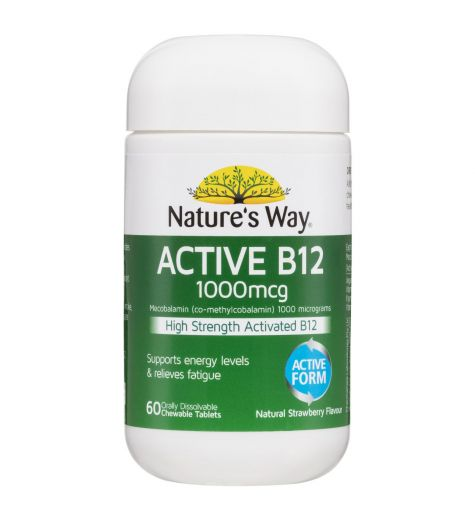 Natures Way Active B12 1000 mcg Strawberry Chewable Tablets 60