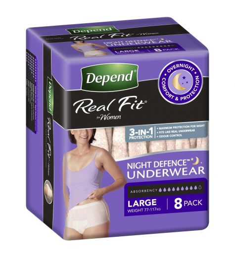 Depend Real Fit Women's Night Defence Underwear 8 Pack