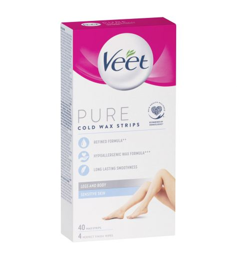 Veet Pure Hair Removal Cold Wax Strips Legs and Body Sensitive Skin 40 Pack