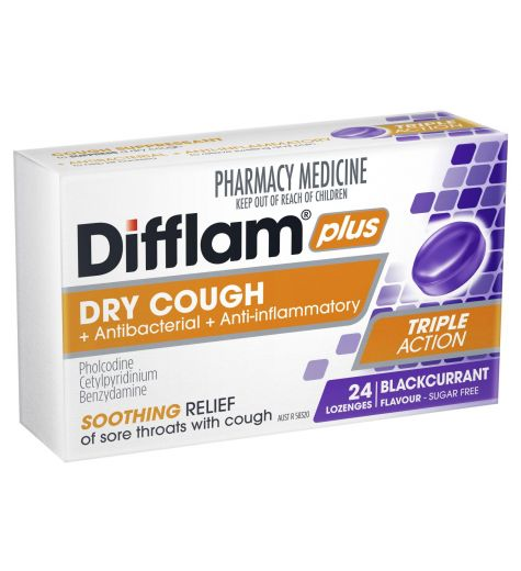 Difflam Lozenges Cough Suppressant Sugar Free Blackcurrant 24 Pack