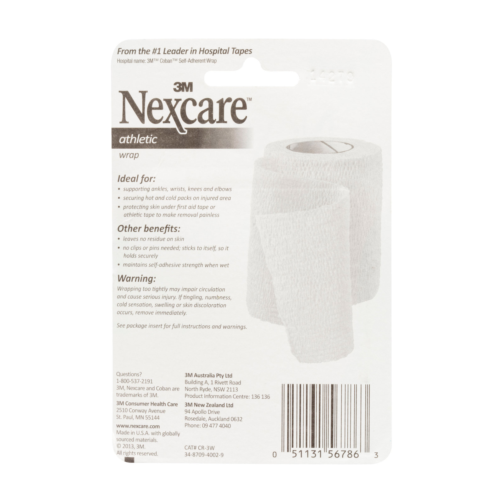 Details about Nexcare Athletic Elastic Injury Pain Support Wrap White 75mm  x 2m Unstretched