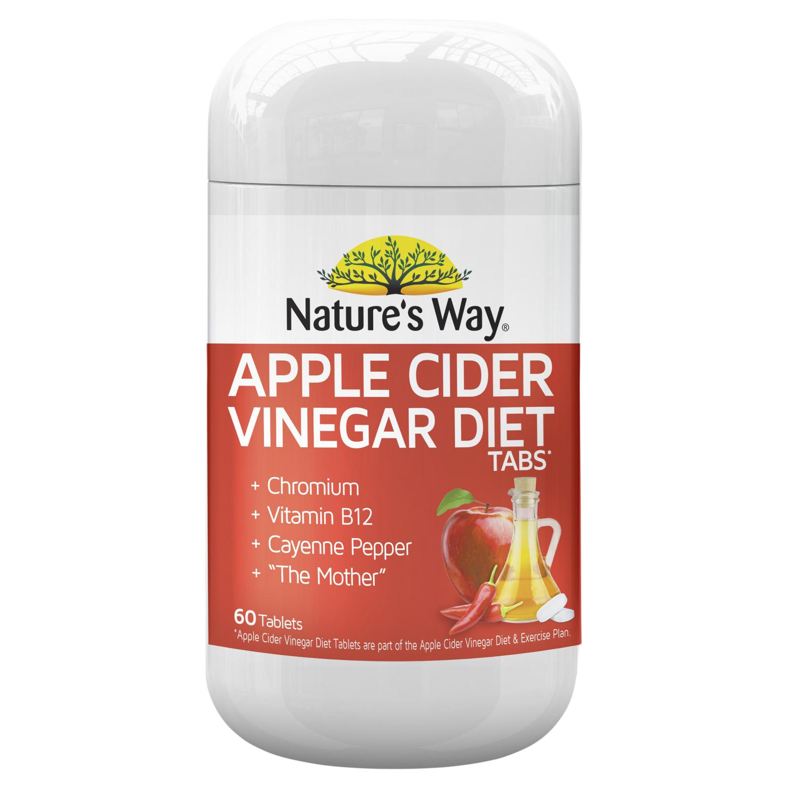 Details About Natures Way Apple Cider Vinegar Diet Tablets 60 Burn Fat Metabolism Weight Loss